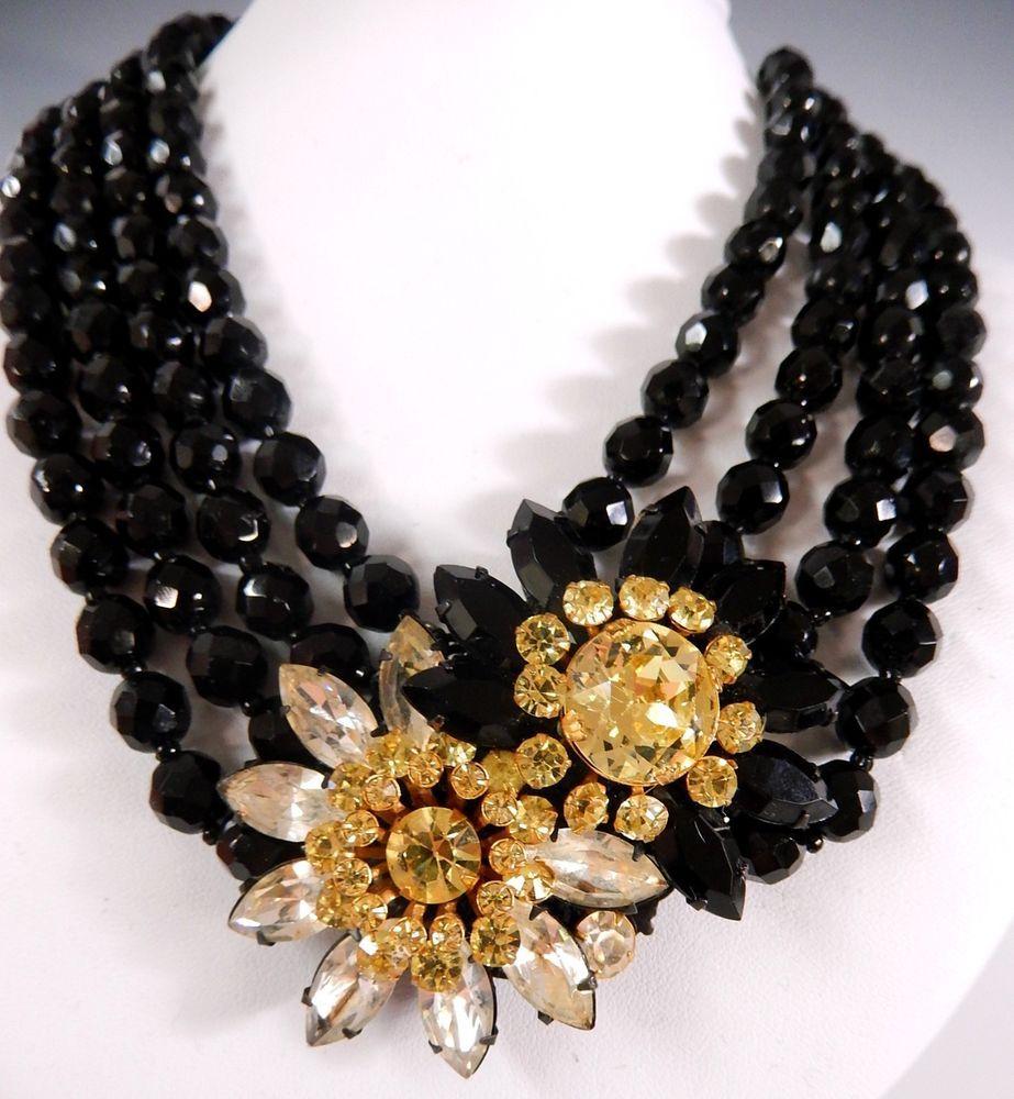 MIRIAM HASKELL BLACK & YELLOW CRYSTAL FLOWER BLACK GLASS NECKLACE VINTAGE #MIRIAMHASKELL
