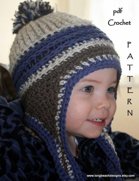 Crochet Beanie Pattern, Ear Flap Crochet Pattern, Kids Mountain Jam ...