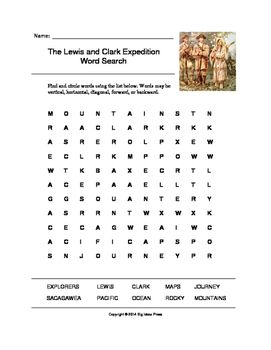 the lewis and clark word search grades 3 5 word search and word search puzzles. Black Bedroom Furniture Sets. Home Design Ideas