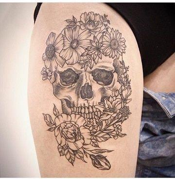 Disenos Para Tatuajes De Calaveras En La Pierna Tatuajes Rosas Y