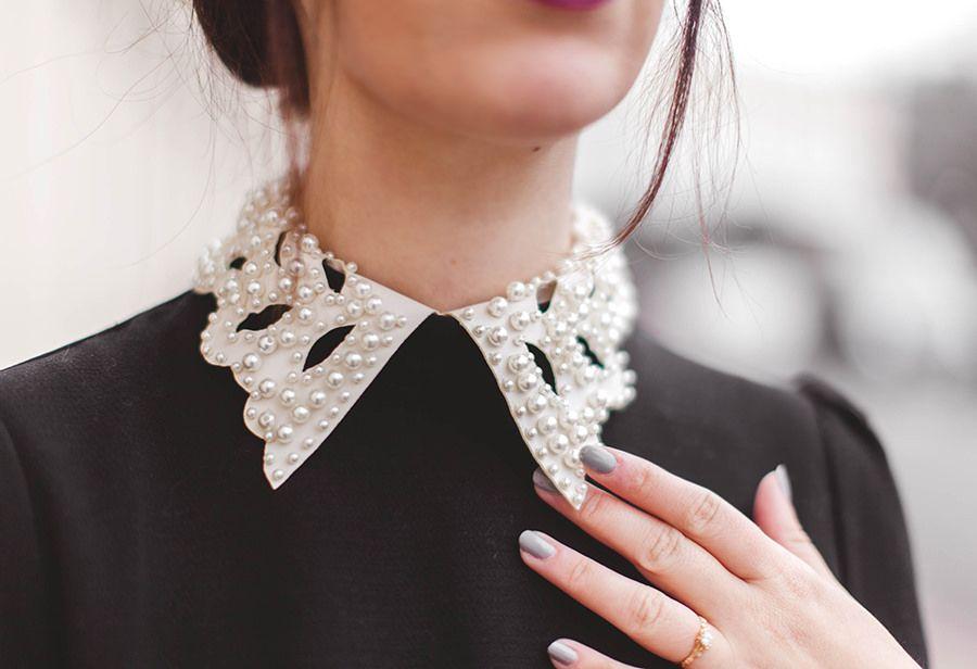 pearl embellished collar on simple black dress Looks Archives - WishWishWish