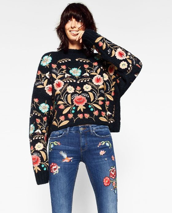 Image of embroidered cropped jeans from zara