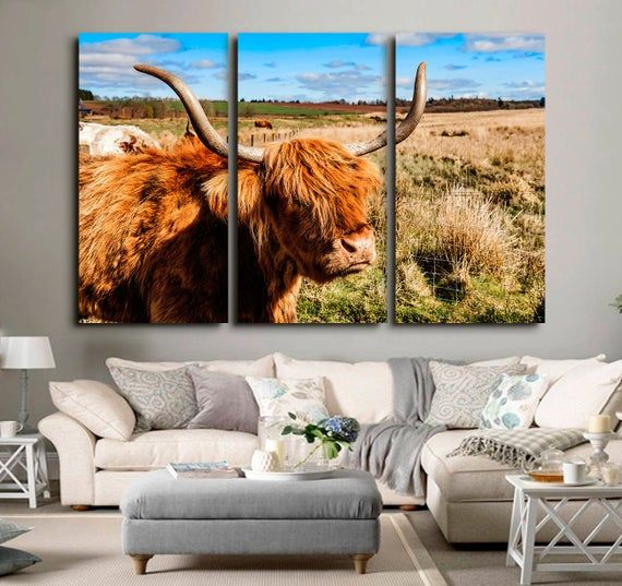 Canvas Wall Art Highland Cow Prints Cow Canvas #art #print #giclee @EtsyMktgTool #canvasart #canvaswallart #highlandcowprints #cowpainting