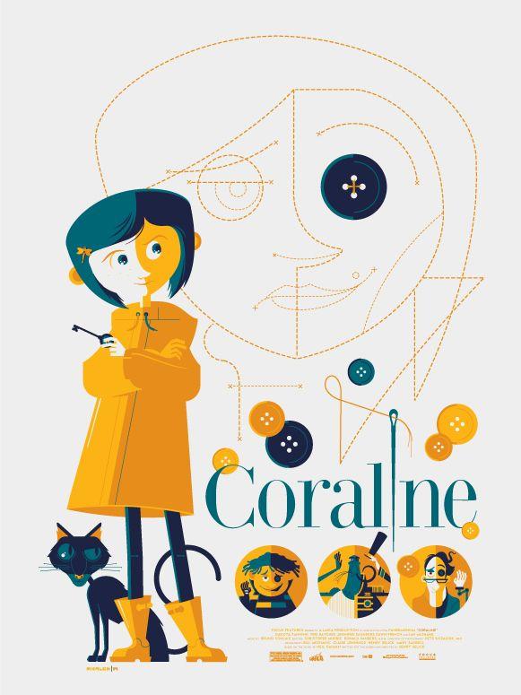 Coraline Movie Poster Tom Whalen Vector Vector Vector Vector Inspo Typography Inspo Coraline Art Tom Whalen Coraline Movie