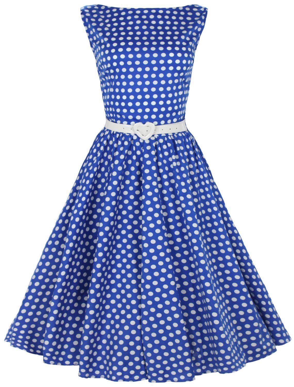 vintage womens dresses 1950's | ... Polka Dot Dresses >> Blue Vintage 1950's Pinup Polka Dot Swing Dress
