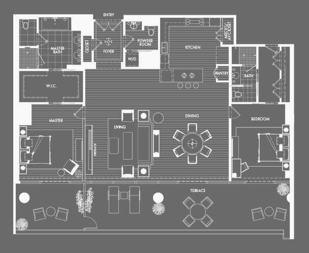 Altair The W Hollywood Apartments Hotel Floor Plan Pent House