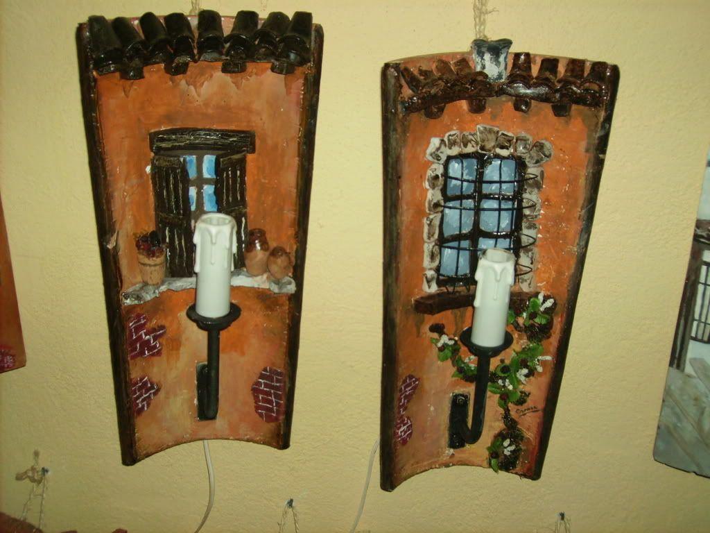 Candelabros con tejas decoradas telhas decoradas - Tejas pequenas decoradas ...