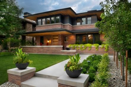 Hgtv Presents An Attractive Family Friendly Home That Was Inspired By The Designs Of Frank Lloyd Wright Prairie Style Houses Craftsman Exterior Prairie Style