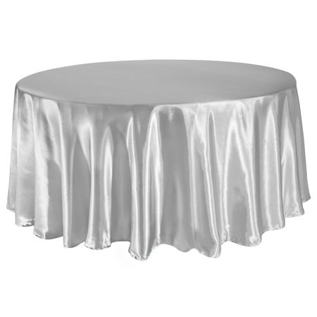 TCSN 120SV 120 Inch Round Satin Silver Tablecloth