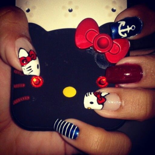 Diseño de uñas hello kitty #uñas #nails #diseñodeuñas #COSTARICA #kitty #hellokitty