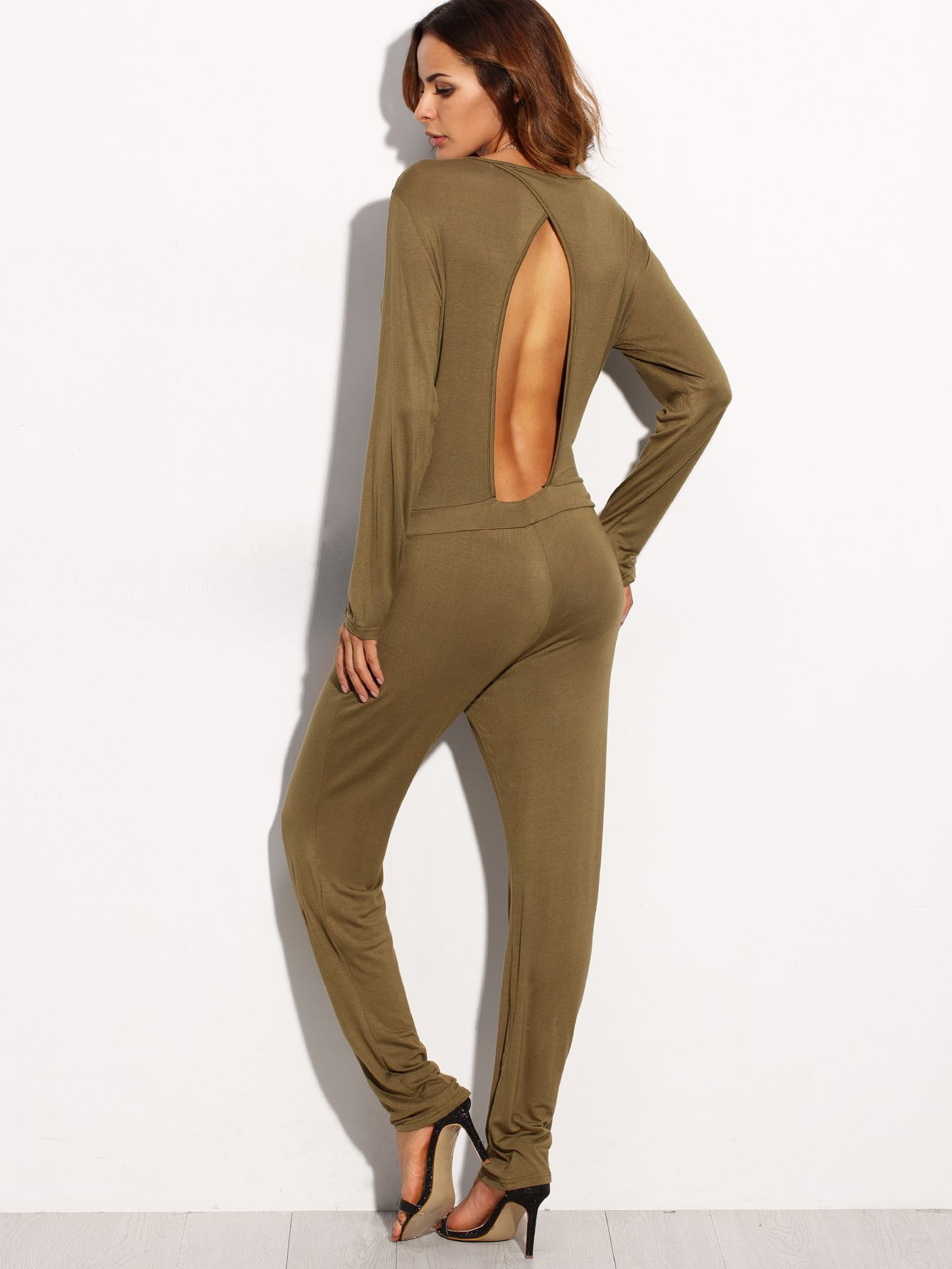Army green deep v neck cutout back long sleeve jumpsuit night out