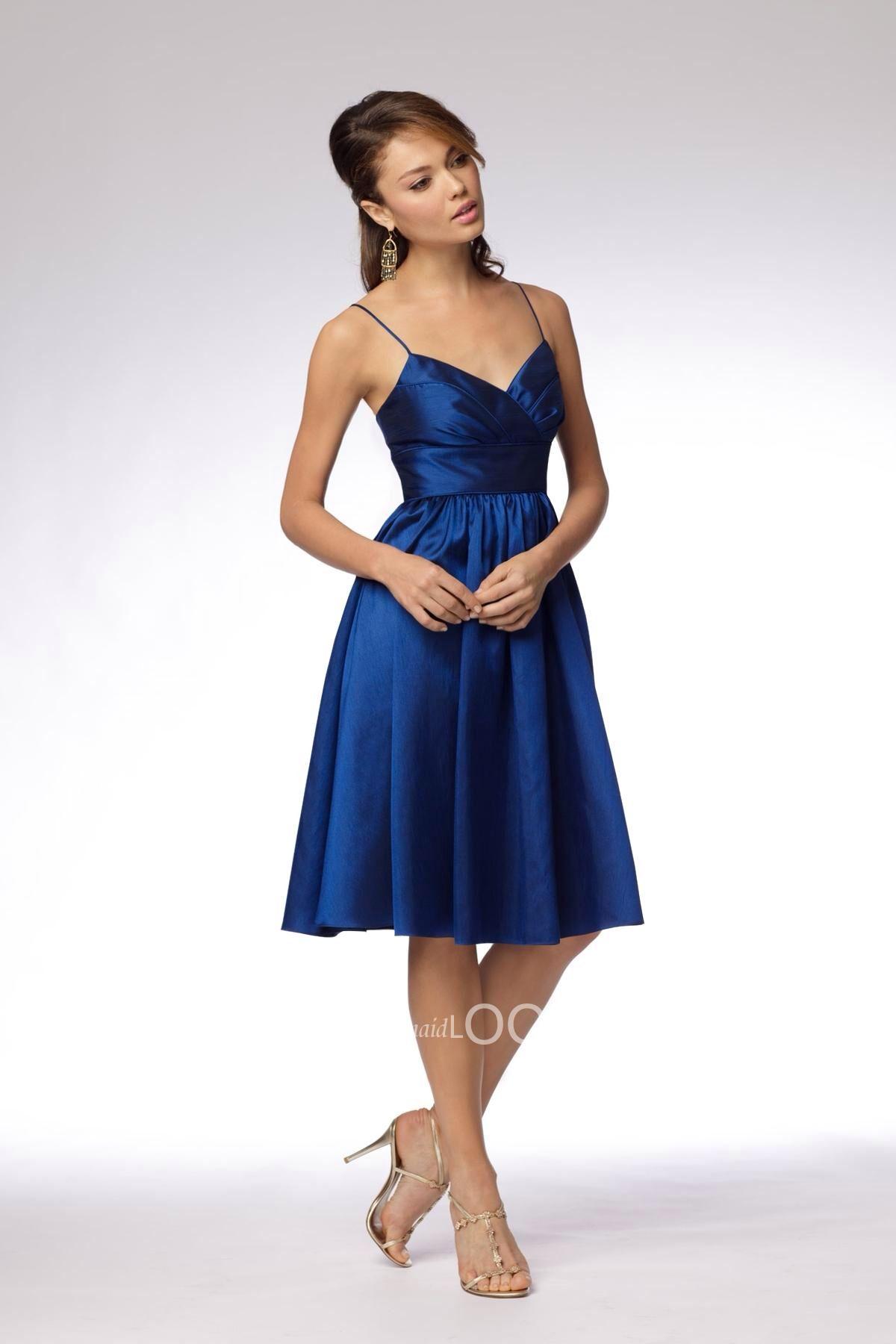 Such a cute short dark blue brides maid dress