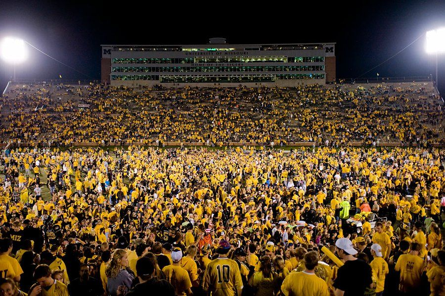 Fans And Players Stormed Faurot Field After Beating 1 Ranked Oklahoma On Their Homecoming Night Mizzou Homecoming Games Missouri Tigers