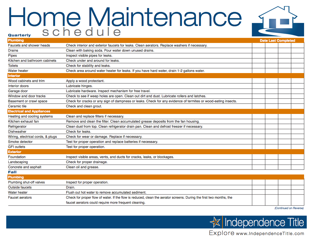 Home maintenance schedule pinteres for Home building checklist