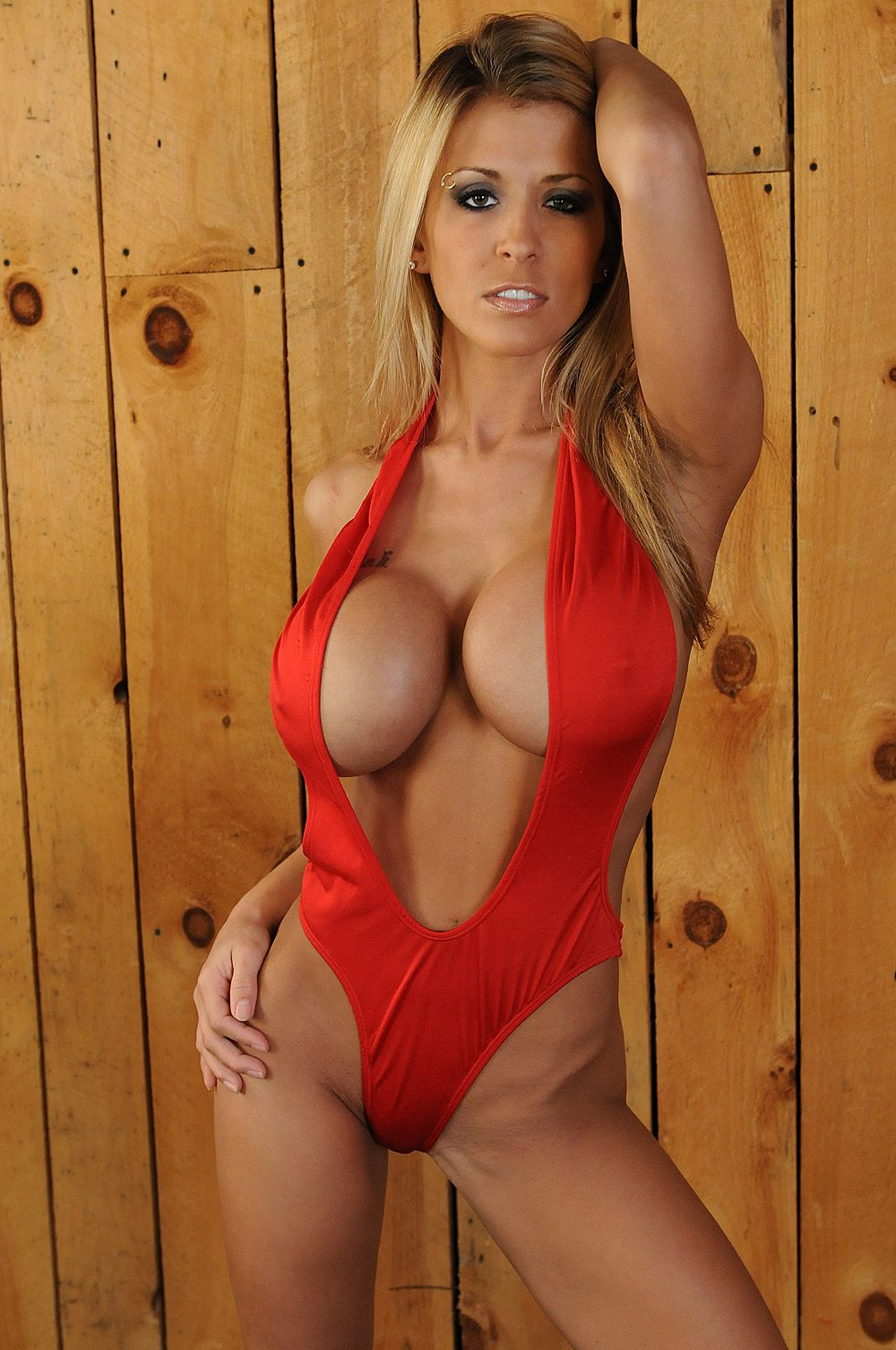 Valerie Cormier Topless Simple sexy red swimsuit modeledbusty blonde #fitness model : if you