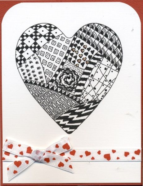 Zentangle Anniversary Heart By Scootsv Cards And Paper Crafts At Splitcoaststampers Cards Valentines Cards Zentangle Patterns