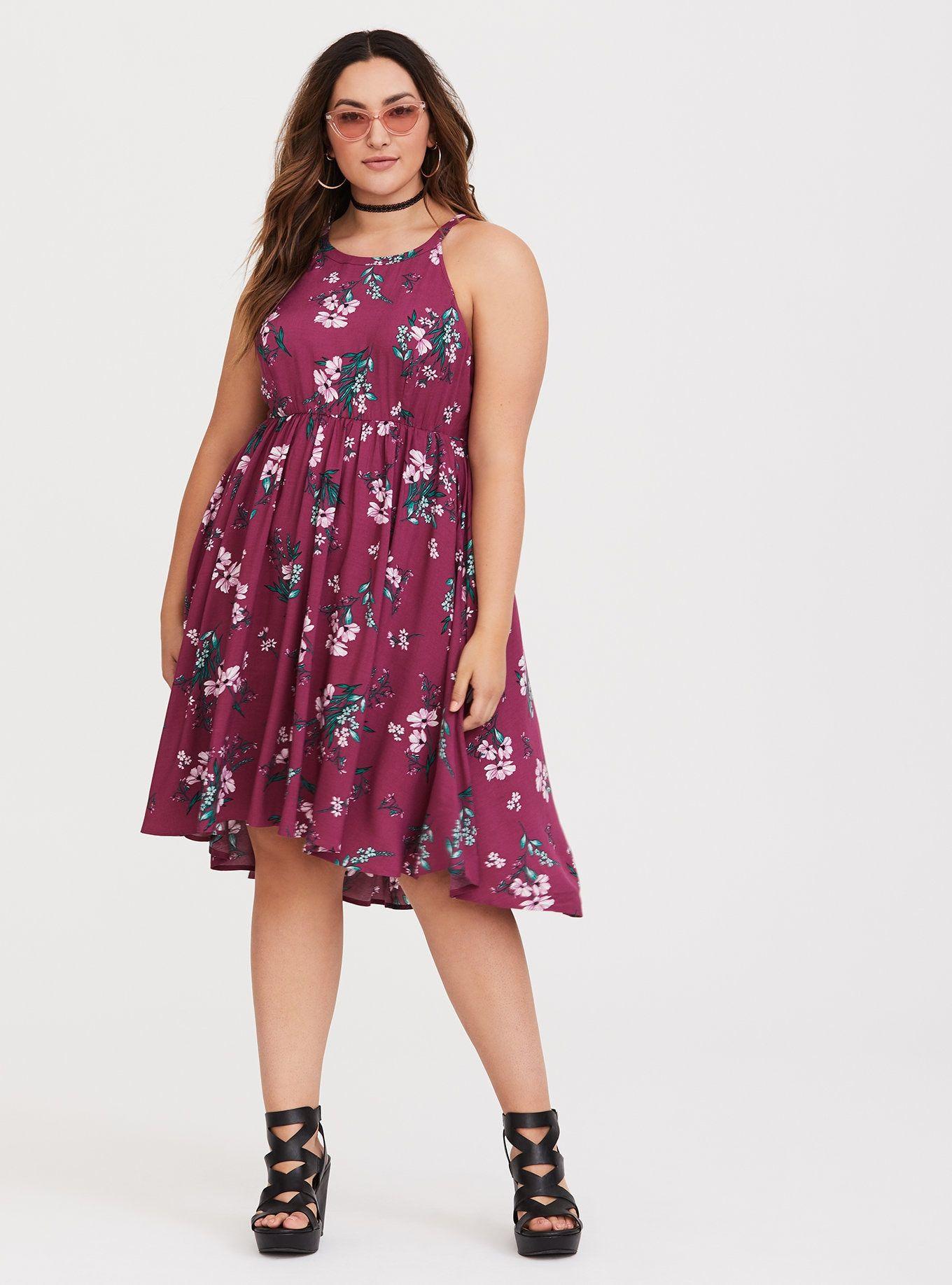 67cd2a454e1 Berry Hi-Lo Challis Dress