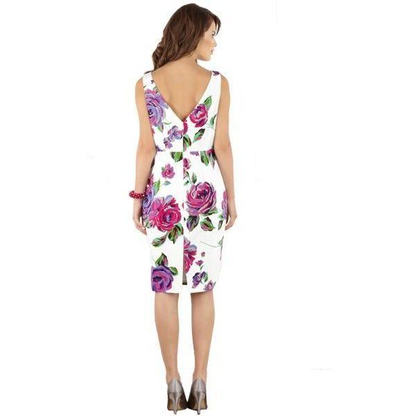 Bqueen Floral Print Dress G009E - Designer Shoes|Bqueenshoes.com via Polyvore