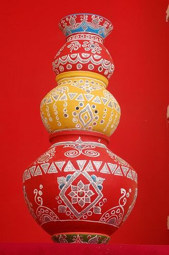 Indian Decorated Matka Decor Pinterest Decor Indian And Simple Designs For Pots Decoration