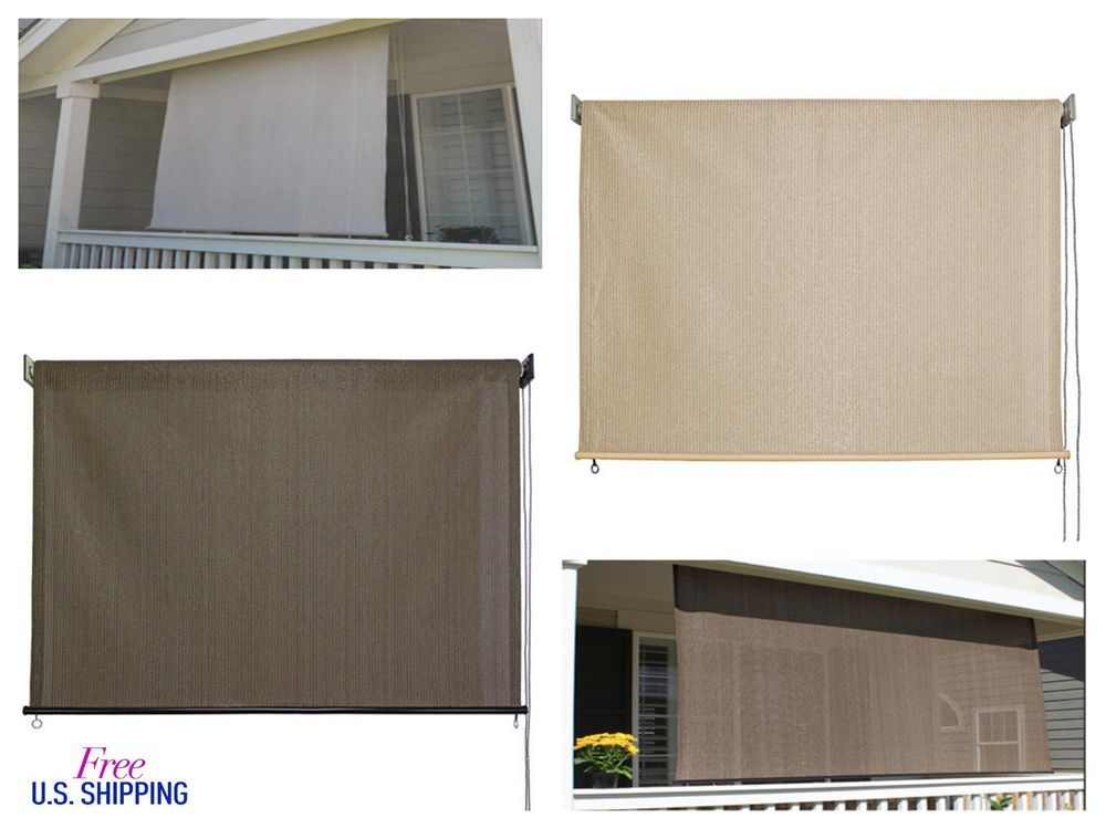 Outdoor Window Shade Exterior Solar Roll Up Patio Curtain Screen