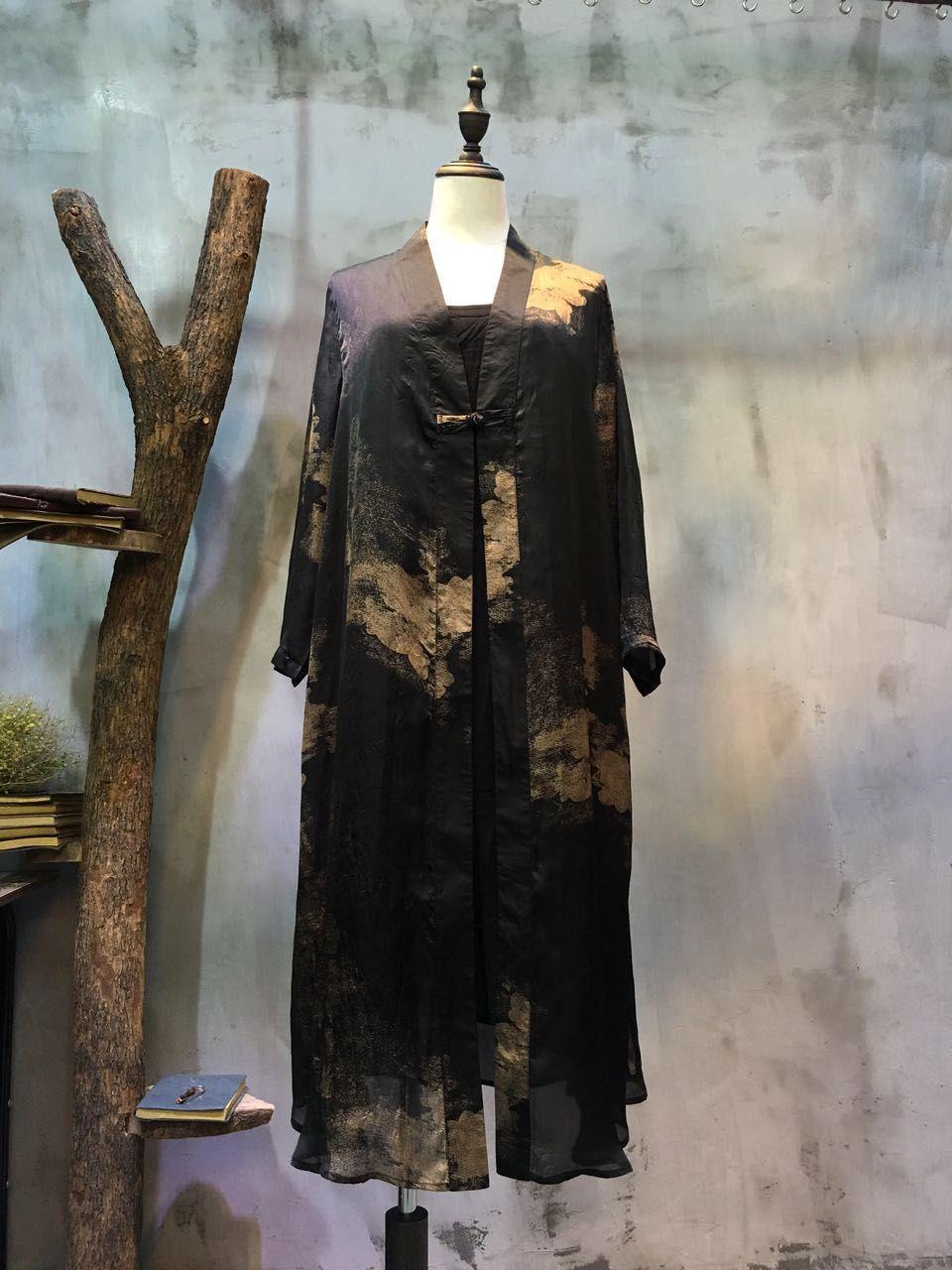 Ladylike Chinese Ink Painting Loose Cardigan Long Chiffon Clothes  #cardigan #black #chiffon #clothes #outerwear #Chinese #ink #painting #print #long #elegant