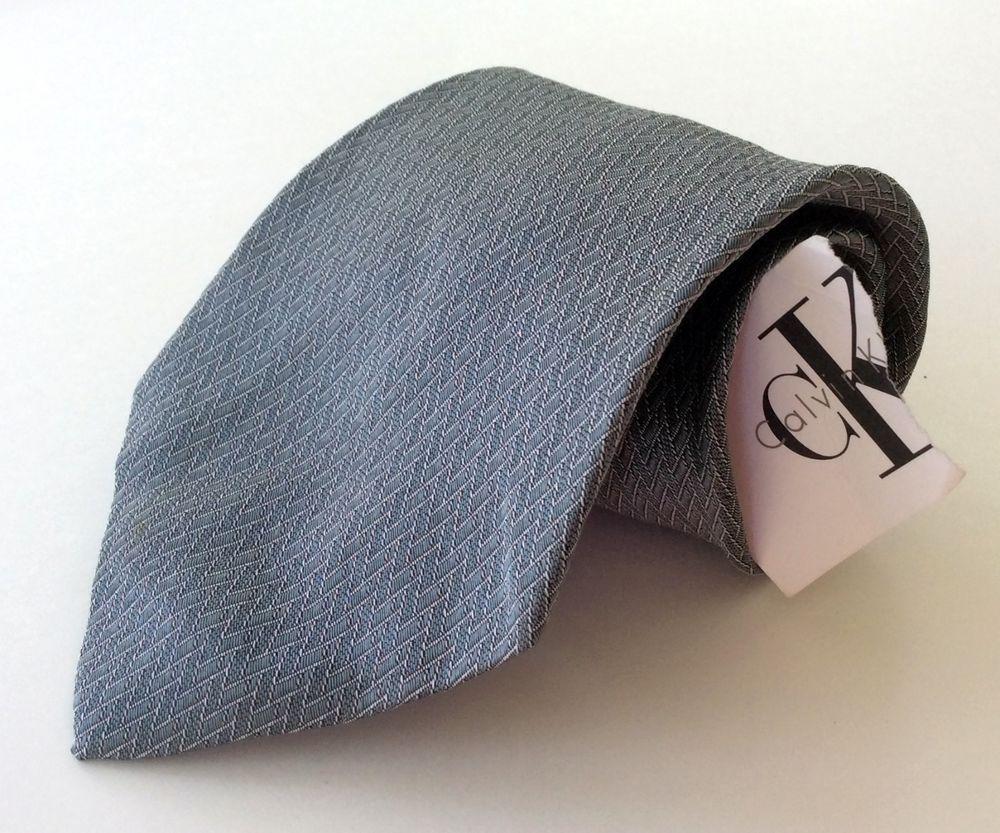 Calvin Klein NEW Neck Tie Gray Silver Geometric 100% Silk #CalvinKlein #NeckTie