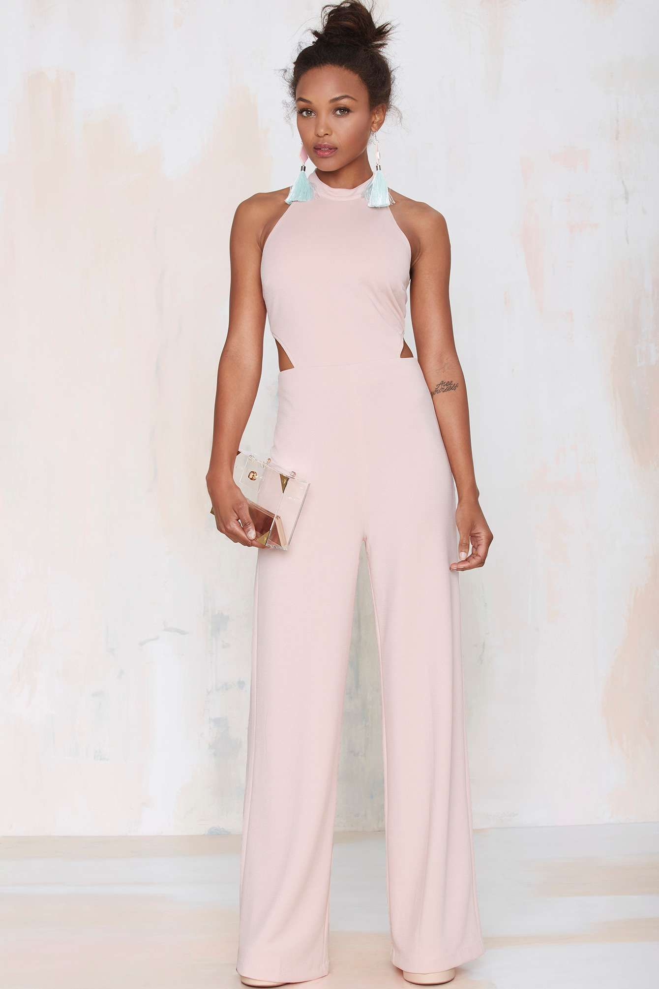 8ff5b7606c Make  em blush in this light pink jumpsuit we designed right here in Los  Angeles.