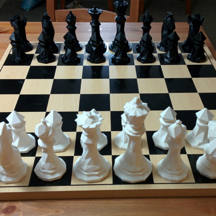 3d Printable Faceted Chess Set By Tom Davis Chess Set Auction Projects 3d Printing