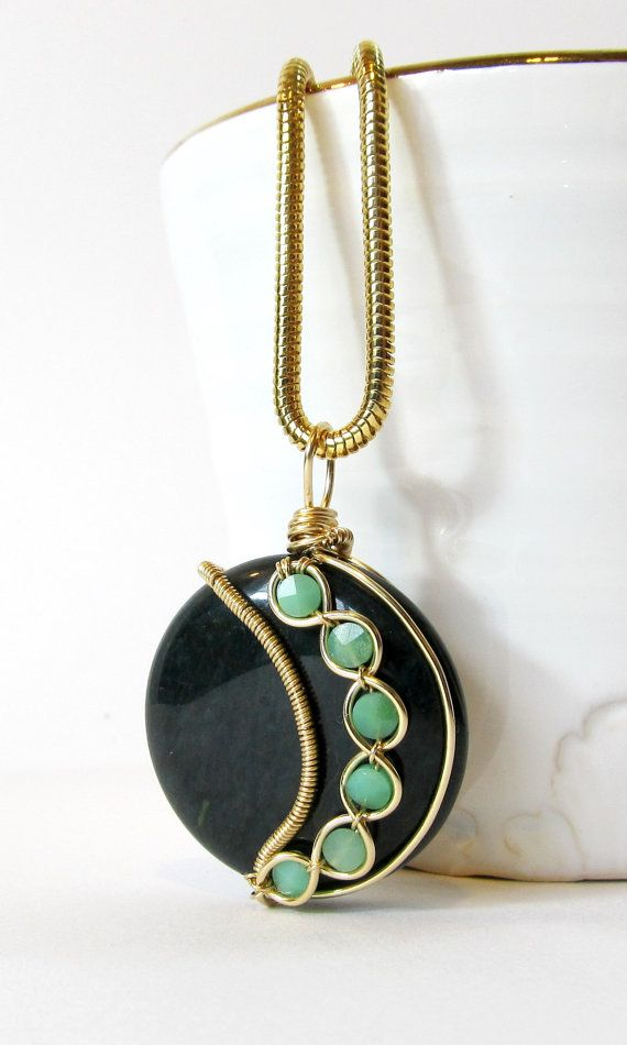 Asymmetrical Wire Wrapped Pendant Gold Filled by BellaDivaBeads ...