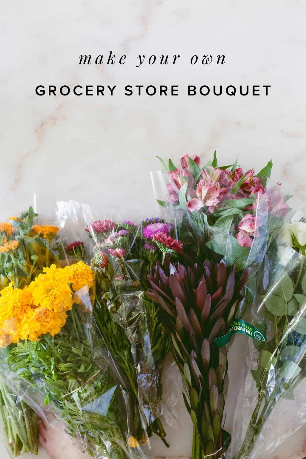 Diy grocery store bouquet flower arrangements pinterest aster transform and elevate grocery store flowers into a wild and woodsy bouquet with orchids asters izmirmasajfo