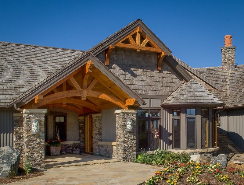 curved timber trusses entryway | Treehouses , Log Cabins, Cottages ...