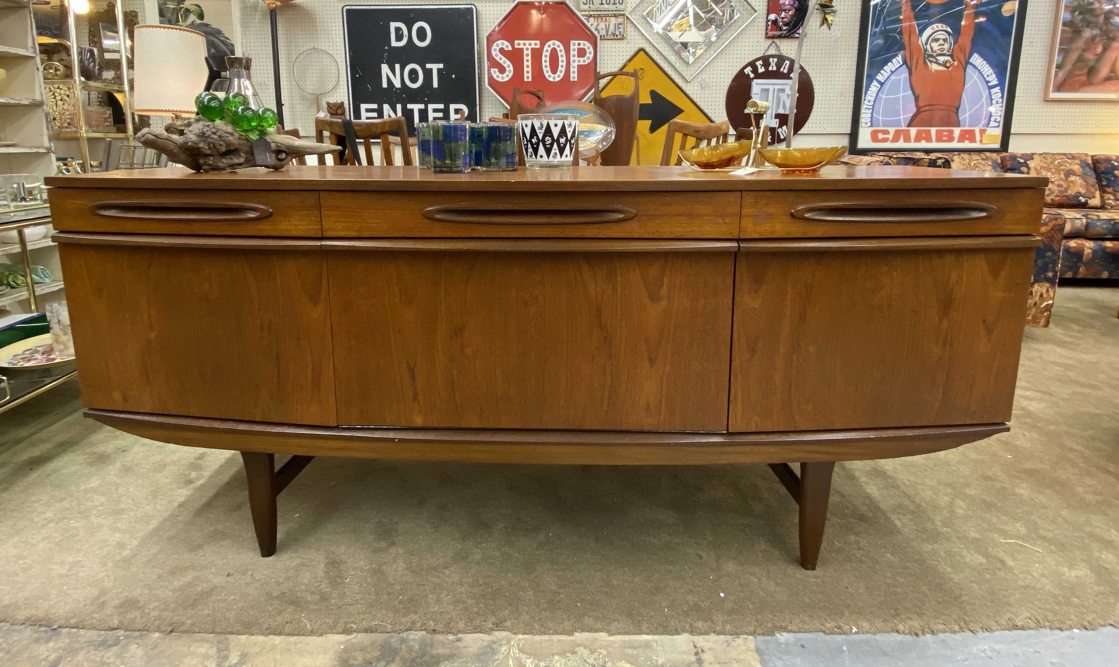 Mid Century Bow Front Teak Credenza With Drop Front Bar On Sale 72 Wide Was 1475 Sale Price 1185 Mid Ce Teak Credenza Mid Century Furniture Mid Century