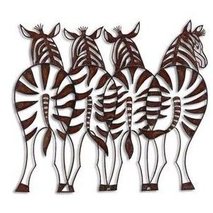 Charming Wrought Iron Zebra Wall Decor Cut Out Forged Metal | French .