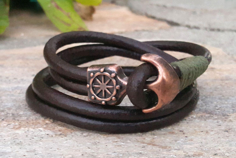 Mens double wrap brown leather copper anchor bracelet nautical ship