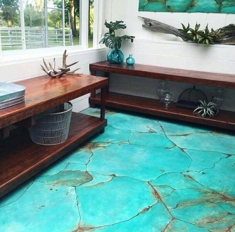 Faux Turquoise Floors Concrete Paint Flooring In 2019