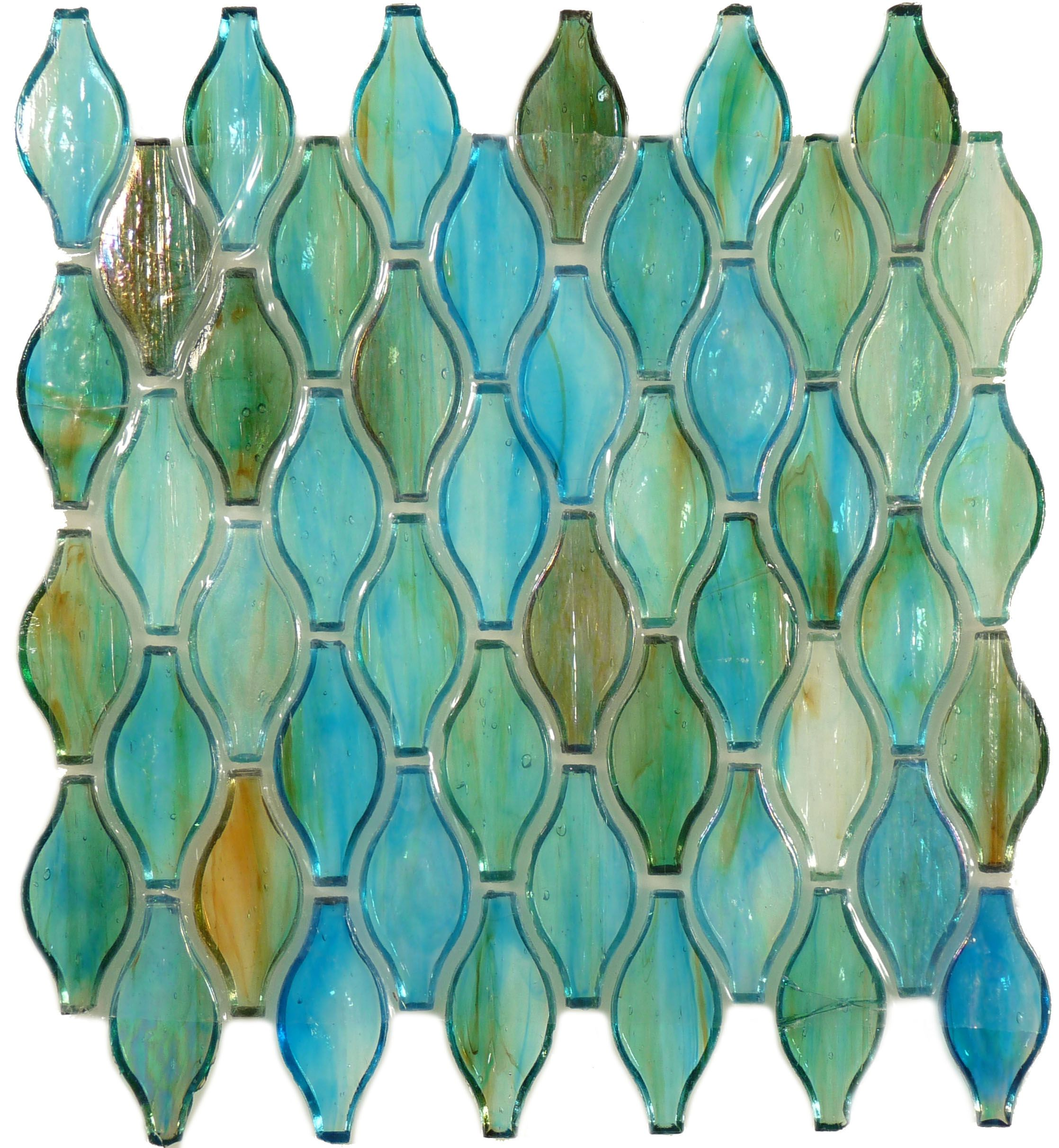 Clear Turquoise Green Unique Shapes Iridescent Glass Tile ...