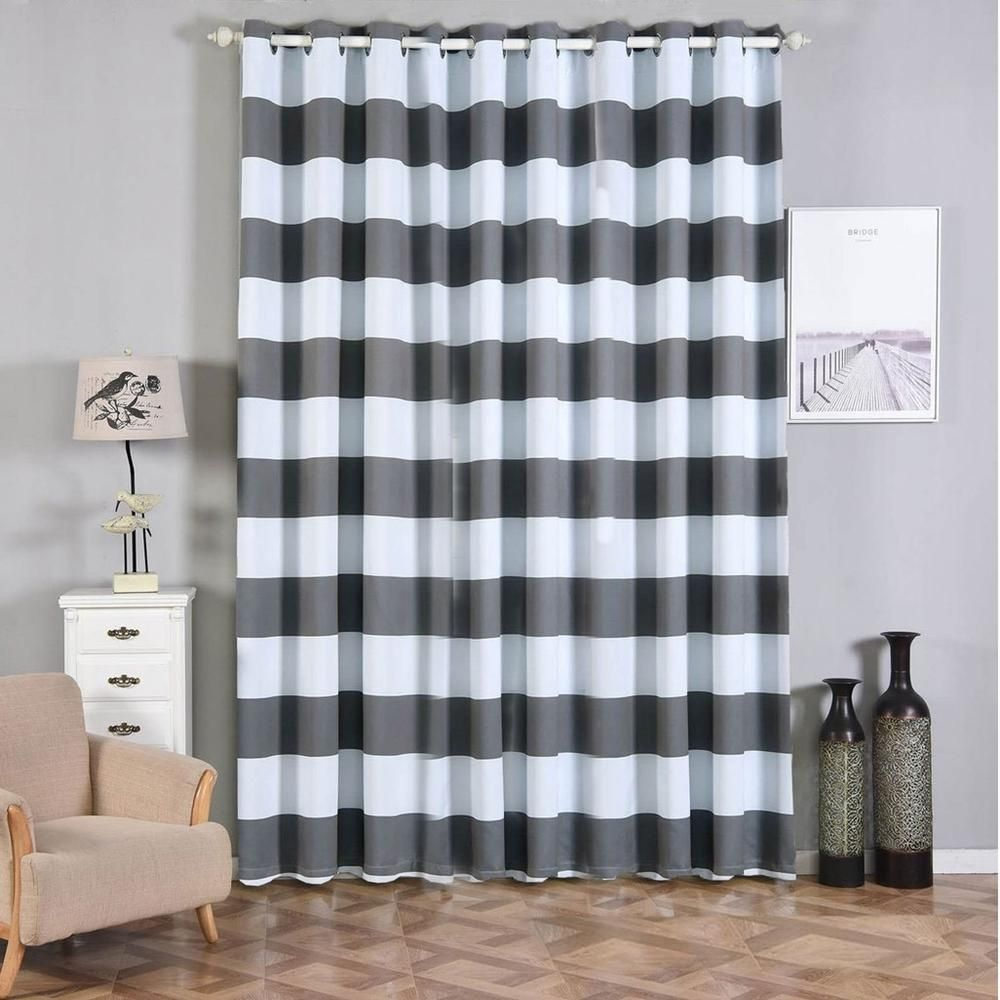 Cabana Stripe Curtains 2 Packs White Charcoal Gray Blackout Curtains 52 X 108 Inch Grommet Curtains Soundproofing Curtains White Paneling Insulated