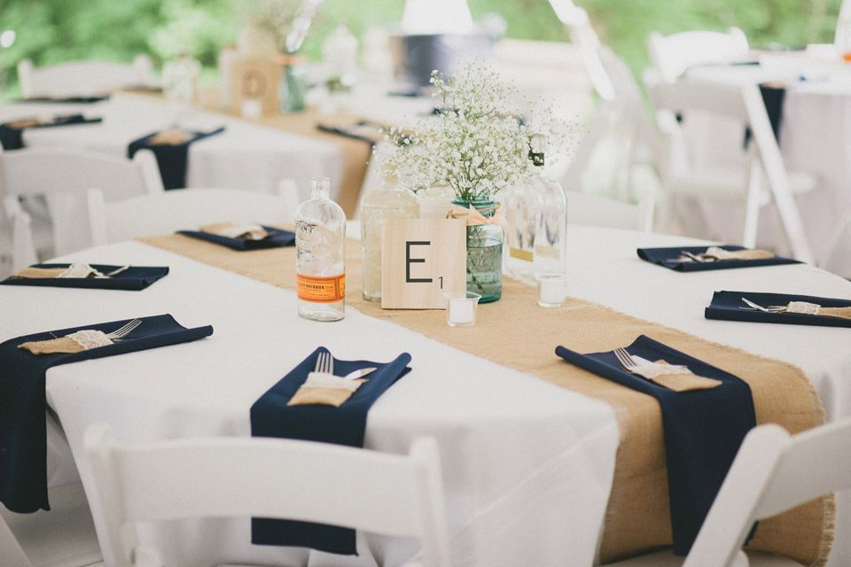 Example Of White Tablecloth, Burlap Runner, And Navy