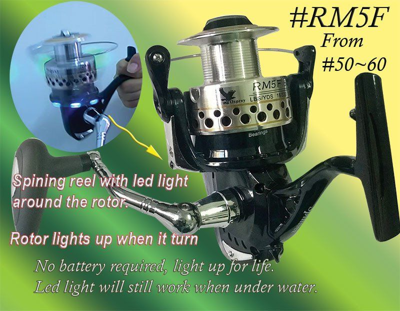 Osprey Spinning Reel With Led Light Around The Rotor Arm 6000 Spinning Reel Spinning Reels Carp Fishing Tips Trolling Reels