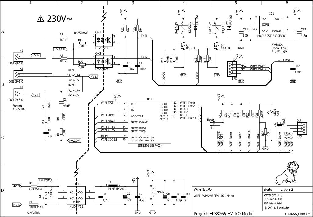 230v Wlan I O Modul Mit Esp8266 Wlan Schaltplan Computertechnik