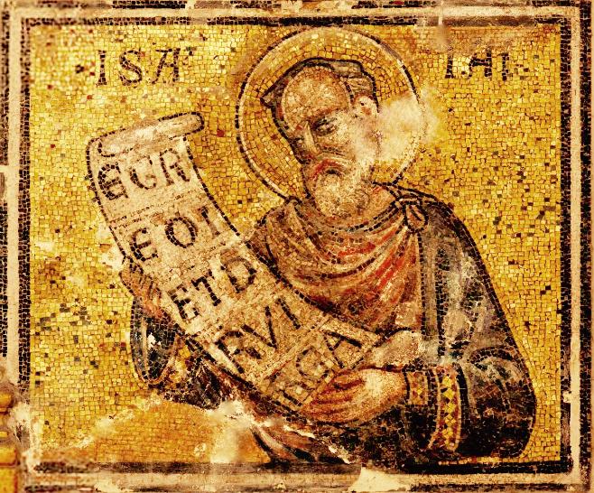 """Mosaïque du baptistère de St Jean Baptiste. Les """"(grands) prophètes"""". 1. Isaïe"""
