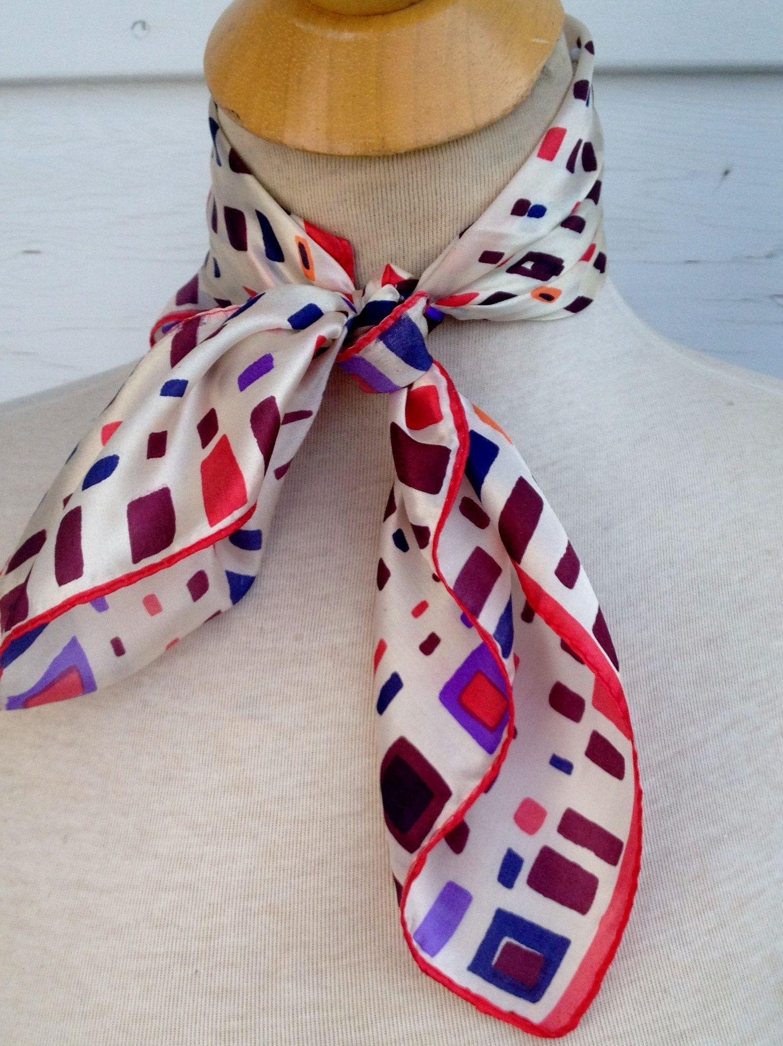 Multi Colored Square Silk Scarf
