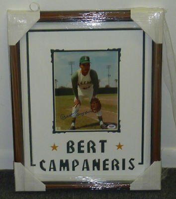 "Bert Campaneris Signed Framed 8x10 Photo PSA DNA COA . $125.00. Oakland A's Shortstop,Bert 'Campy' Campaneris,Hand Signed Color 8x10"" Photograph.Photograph is Professionally Matted and Framed in an 18"" x 22"" Brown Wood Frame.Ready to Display!!Mat Has *BERT CAMPANERIS* Cut Into It.GREAT AUTHENTIC BERT CAMPANERIS BASEBALL COLLECTIBLE!! .AUTOGRAPH AUTHENTICATED BY PSA/DNA AUTHENTICATION WITH NUMBERED PSA/DNA  AUTHENTICATION STICKER ON ITEM AND MATCHING NUMBERED"