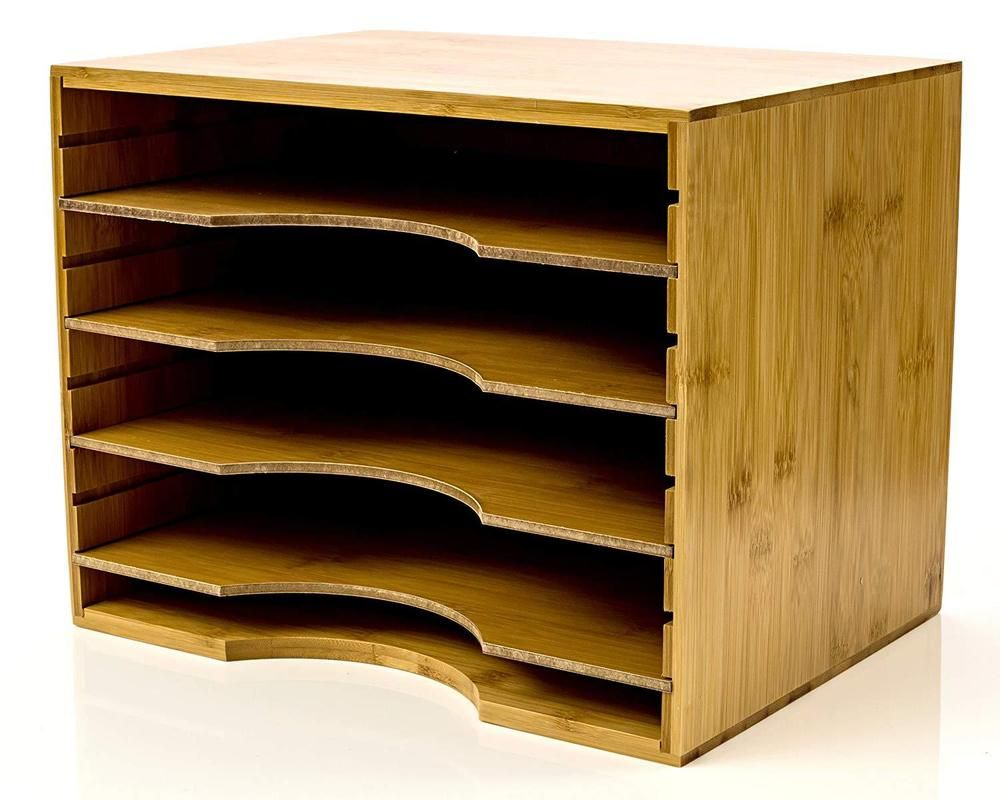 natural bamboo wood color file organizer mail sorter with 4 rh pinterest com