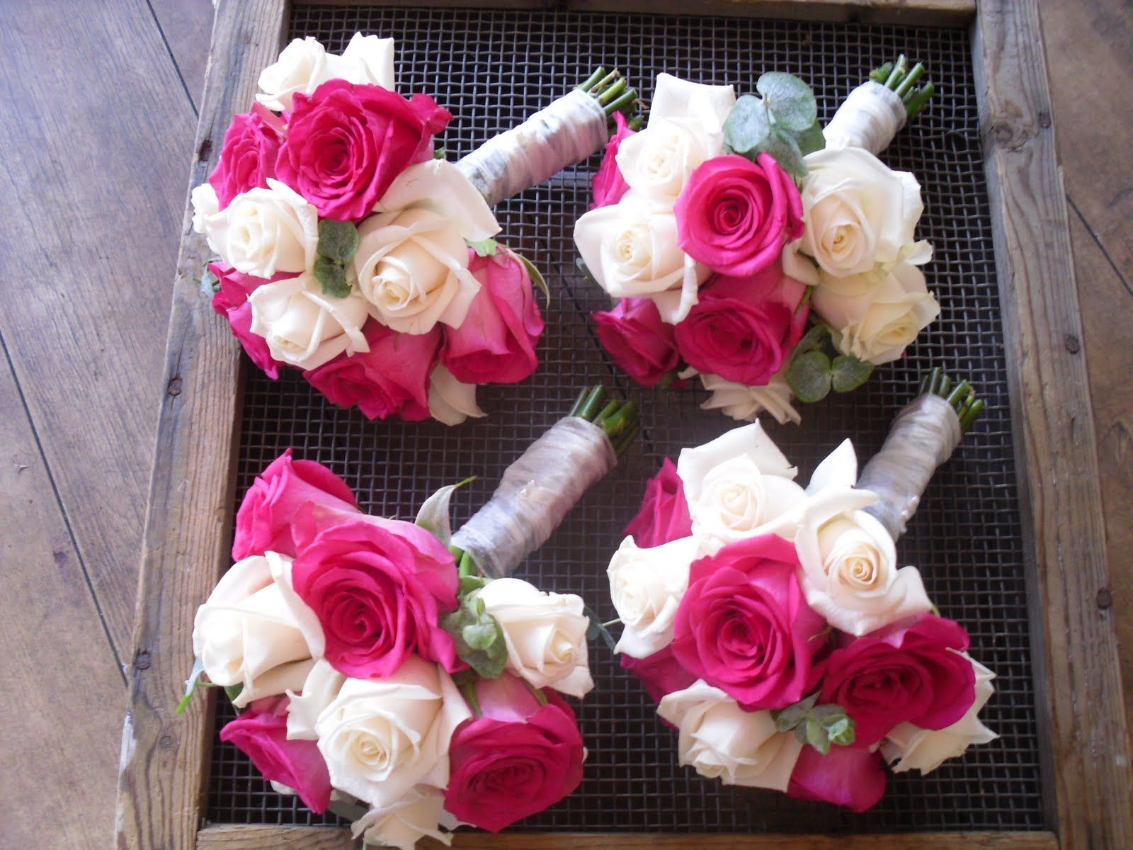 Small pink bridesmaid bouquet the bridesmaids bouquets of cream small pink bridesmaid bouquet the bridesmaids bouquets of cream vendela cerise pink dhlflorist Choice Image