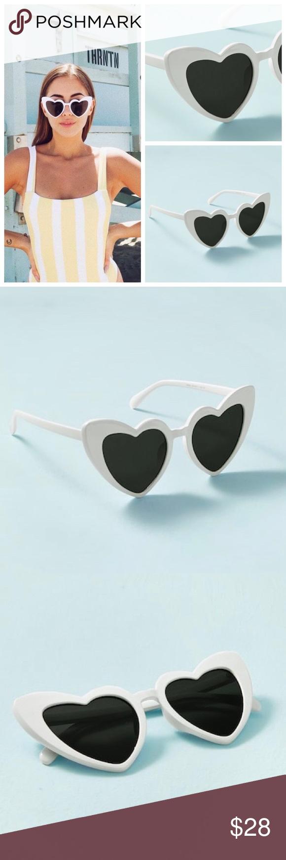 ☆ Katzenauge-Sonnenbrille mit Herzrahmen ☆ Herzrahmen in Katzenaugenform ➳ Weiß …