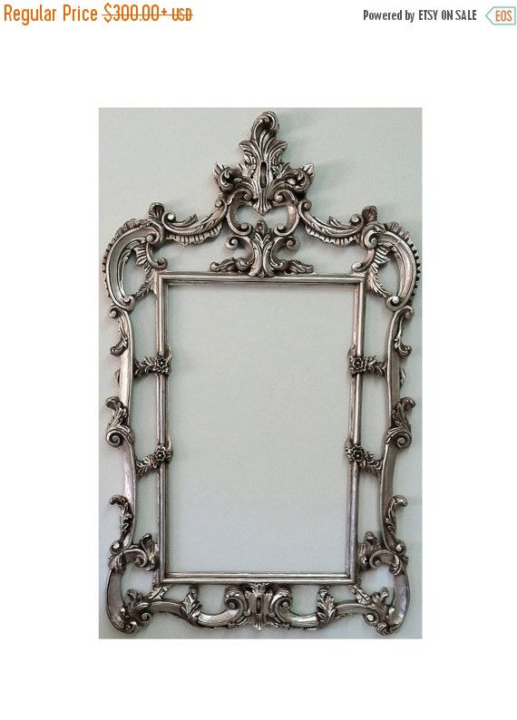 Large Shabby Chic Frame French Baroque Wall Frames Ornate Cottage Chic Frames Wall Decor Ideas Vintage Silver Style Decor Shabby Chic Frames Chic Frames Baroque Frames