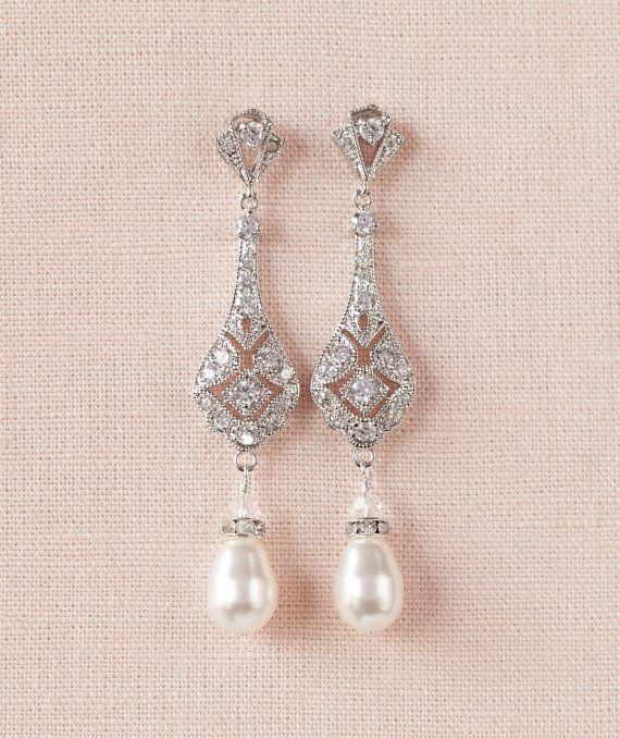 Bridal Earrings Long Wedding earrings, Rose gold, Gold ...