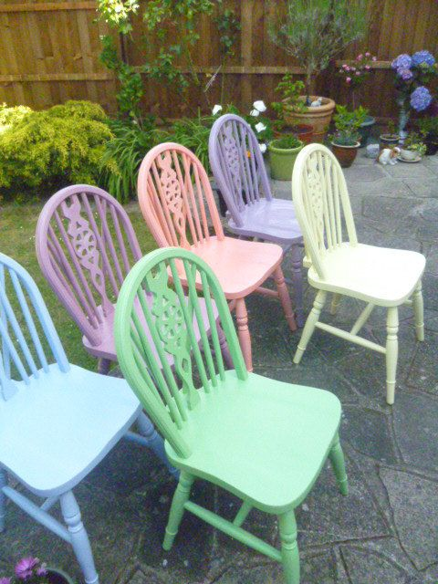 6 X Vintage Shabby Chic Wooden Wheel Back Chairs In Annie Sloan Bespoke  Colours *COLLECTION ONLY* By SunflowerLou On Etsy