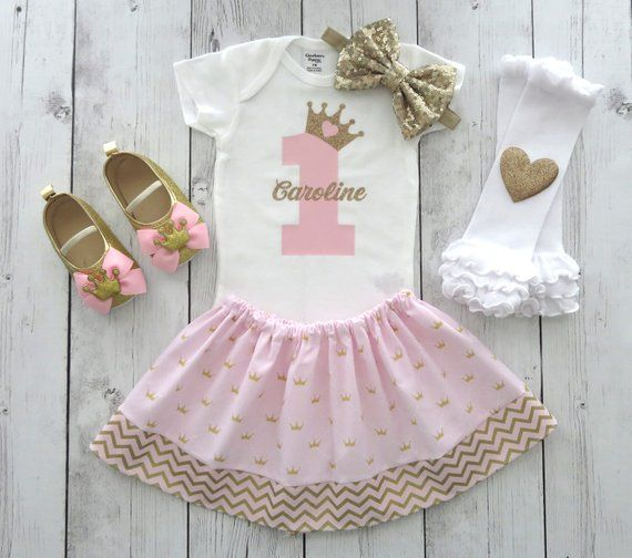 1st Birthday Princess Dress.Princess First Birthday Outfit In Pink And Gold Girl 1st